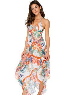 Vestido comprido de verão c/ rachas, seda c/ padrão - SILK DRESS MERENGUITO