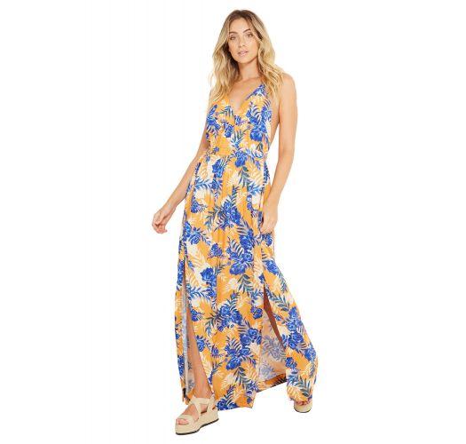 Long beach dress in blue / orange flower print - SAIDA LUNA HEMISFERO LISTRADO