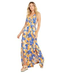 Long beach dress in blue / orange flower print - SAIDA LUNA HEMISFERO LISTRADO