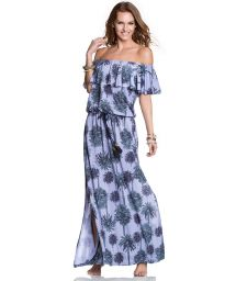 Long palm print off-shoulder dress - HALF MOON