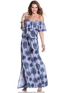 Long palm print off-shoulder dress - HALF MOON
