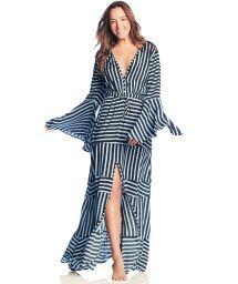 Lång, slitsad strandklänning med olika ränder - MILLION MEMORIES
