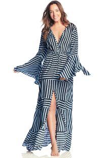Long beach dress in strappy print - MILLION MEMORIES
