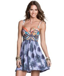 Padded low-cut beach dress with laced back - PALMERAS HEAT