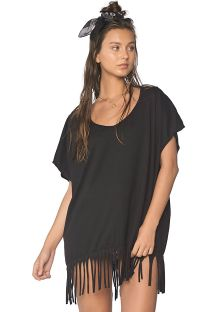 Loose-fit black cotton beach tunic - FLEQUIN BLACK