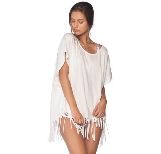 Loose-fit white cotton beach tunic - FLEQUIN WHITE