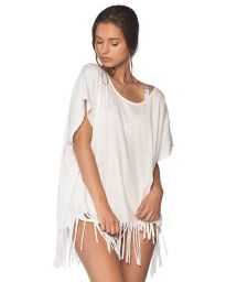Loose-fit white cotton beach tunic - FLEQUIN WHITE