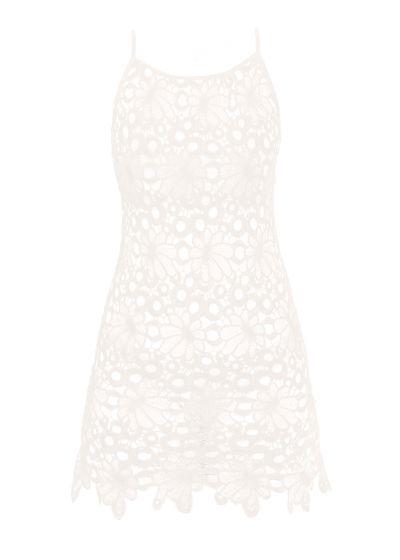 White guipure beach dress with flowers - MAR GUAJIRO COVER UP