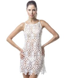White guipure beach dress with flowers - MAR GUAJIRO COVER UP