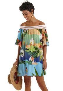 Tropical print Bardot beach dress - OMBRO A OMBRO MARESIA