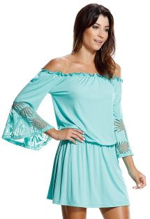 Sky blue, bare-shouldered dress, palm design - BAHIA FORMOSA