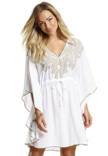 White beach kaftan with floral embroidery - CAFTAN RENDA