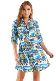 Shirty beach dress with Rio de Janeiro print - CHEMISE AQUARELA RIO