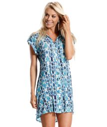Short-sleeved shirt dress, printed blue - SAIDA LADRILHOS