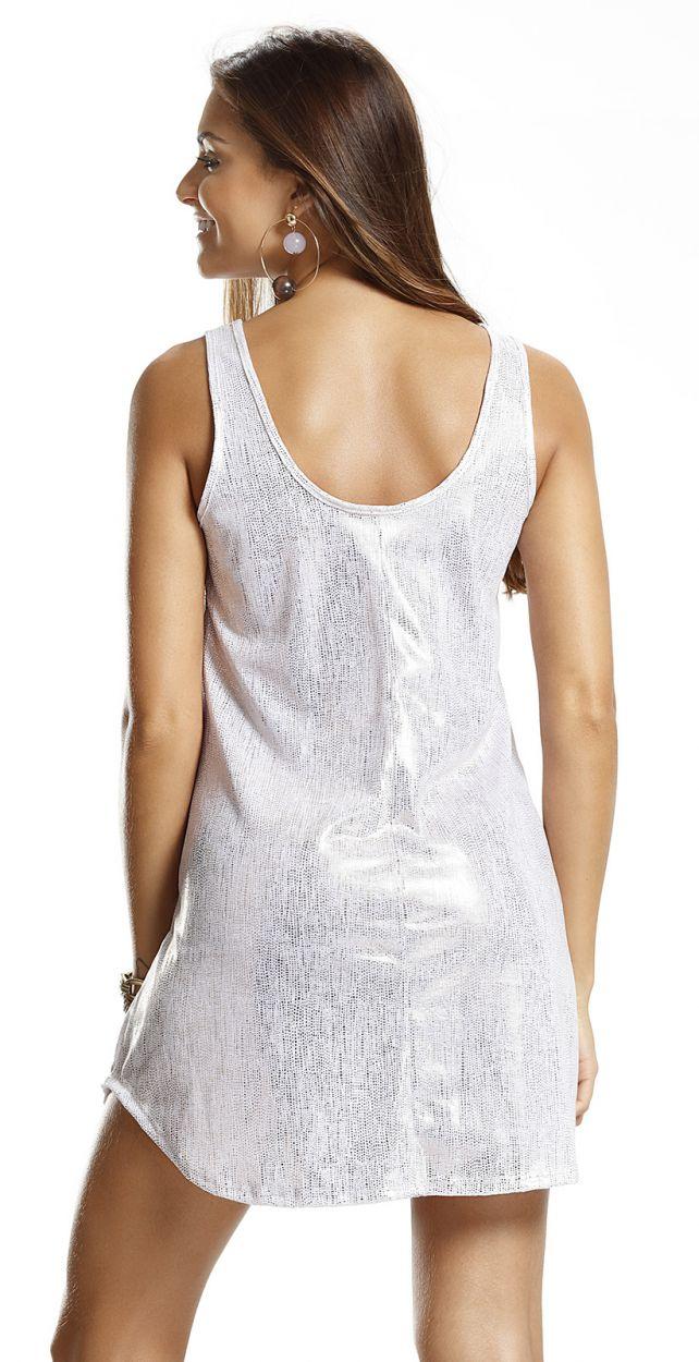Shiny white sleeveless beach dress - VESTIDO DOURADA