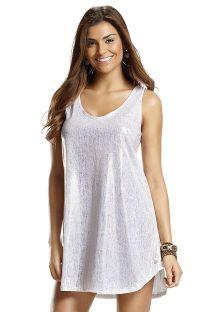 Белое блестящее пляжное платье без рукавов - VESTIDO DOURADA
