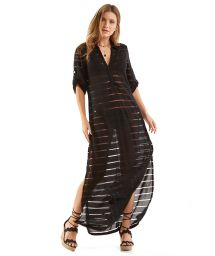 Black beach dress with openwork stripes - VESTIDO ENCANTADOR PRETO LISO