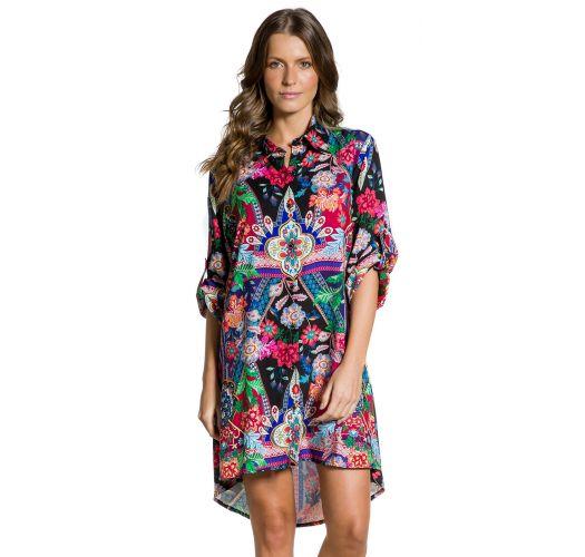 Farbenfrohes Strand-Shirt-Kleid - CAMISA JARDIM ESCURO