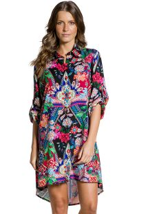 Particolored print beach shirt dress - CAMISA JARDIM ESCURO