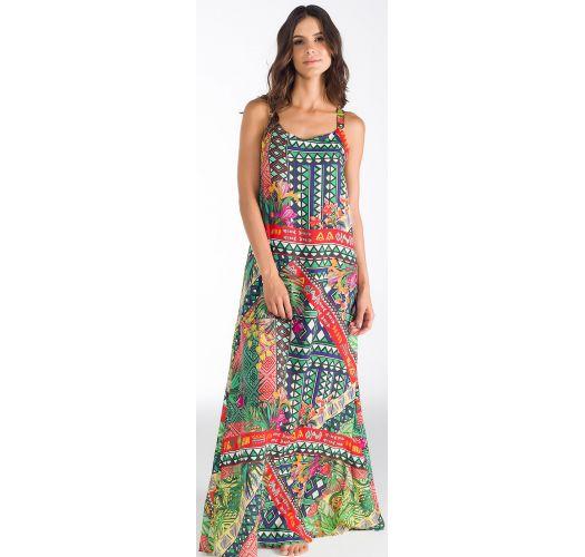 Vestido De Playa Largo Estampado Con Volant Detras Flores De Ipanema