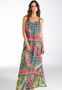 Длинное пляжное платье с принтом, украшенное воланами на спине - FLORES DE IPANEMA