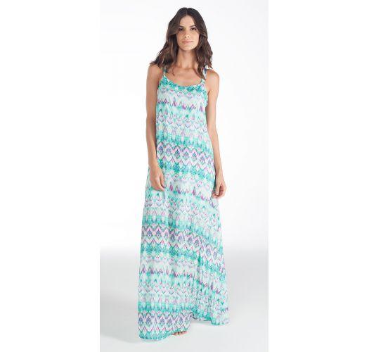 3e8332583669 Tie dye μακρύ φόρεμα για την παραλία με βολάν στην πλάτη - VESTIDO BLENDA