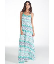 Long tie-dye beach dress, flouncing at back - VESTIDO BLENDA