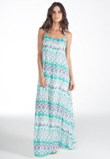 Long tie-dye beach dress, flouncing at back - VESTIDO BLENDA