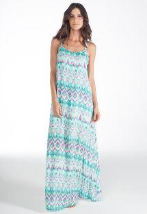 Tie dye μακρύ φόρεμα για την παραλία με βολάν στην πλάτη - VESTIDO BLENDA