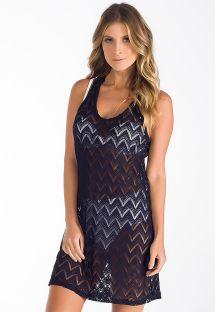 Vestido de playa de encaje negro con racerback - VESTIDO RENDA