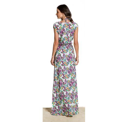 Feather print long beach dress - VESTIDO SONHOS