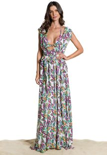 Feather print long beach dress - VESTIDO SONHOS