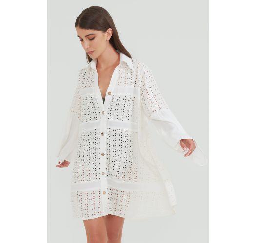 Ivory shirt dress with English embroidery - EYELET CAMISOLE IVORY