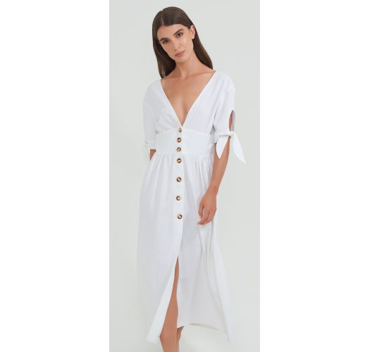 LINEN BUTTONED DRESS WHITE