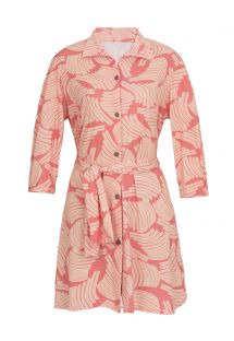 Pink printed beach shirt dress - CHEMISE BANANA ROSE