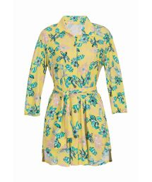 Beach yellow shirt dress with flowers - CHEMISE FLORESCER