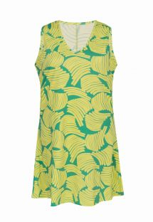 Green print sleeveless beach dress - DRESS BANANA YELLOW