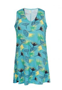 Blue floral sleeveless beach dress - DRESS FLOWER GEOMETRIC