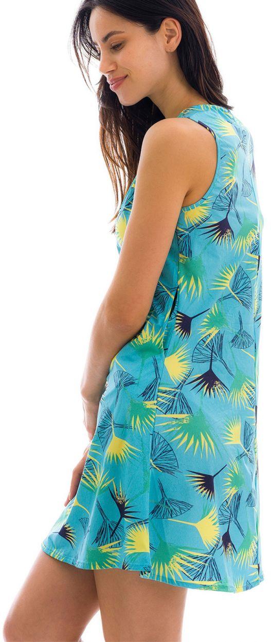 Blue floral sleeveless beach dress - DRESS FLOWER GEOMETRIC