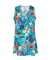 Blue floral sleeveless beach dress - DRESS ISLA