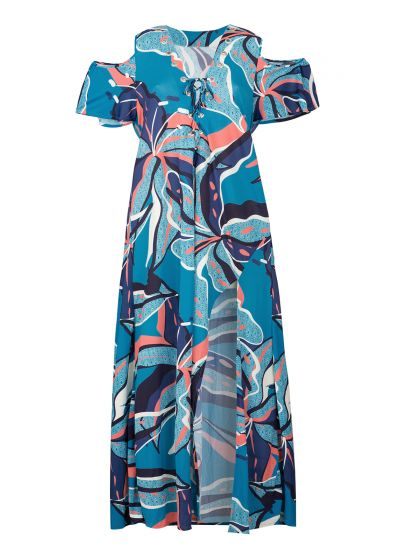 Long beach dress with laced neckline and blue and pink print - SAIDA LONG LILLY