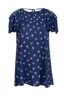 Navy blue mini dress with open shoulders and birds print - SAIDA SEABIRD OFF SHOULDER