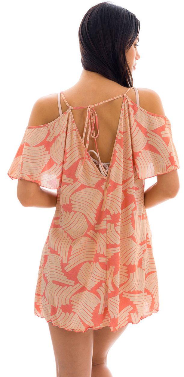 Printed beach dress with bare shoulders - SAIDA BANANA ROSE OFF SHOULDER