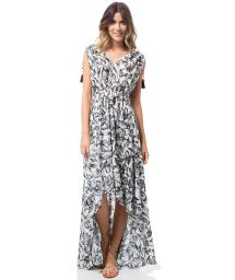 Long asymmetrical dress in a botanical print - BOTANICAL LONG DRESS