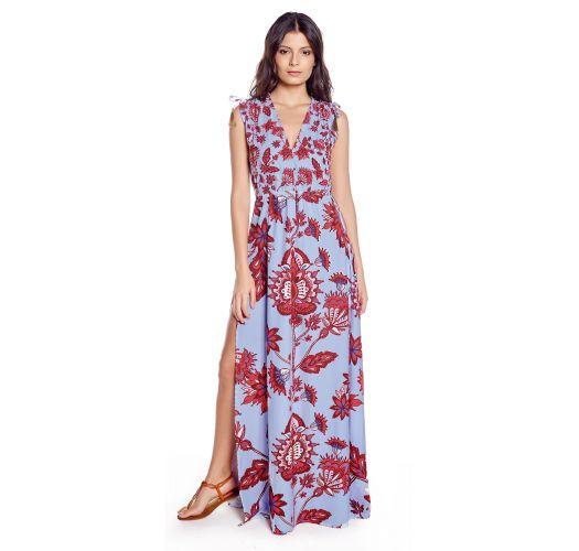 Blau/rotes langes geschlitztes Strandkleid - PLAYA SPROUT