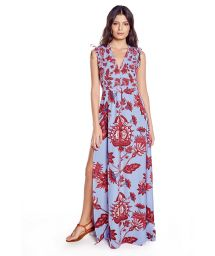Blue and pink long beach dress - PLAYA SPROUT