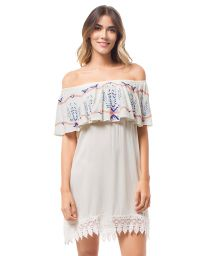 White embroidered off-the-shoulder beach cover-up - TOLU