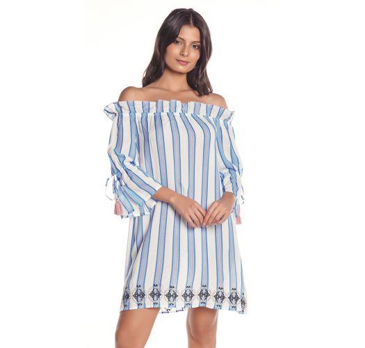 Blau/weißgestreiftes Strandkleid, Bardot-Stil - VIENTO BLUE STRIPES