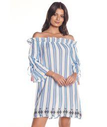 Blå- vitrandig strandklänning med Badot- krage - VIENTO BLUE STRIPES