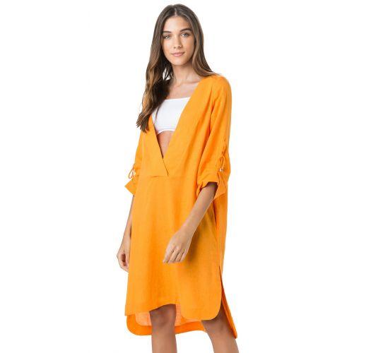 18602e52c44 V Neck Orange Beach Dress 3/4 Sleeve - Tunica Midi Laranja - Salinas